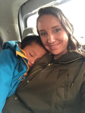 Tired out from the orphanage experience. Sleeping on Mama in the van ride home.