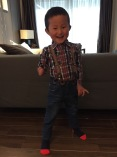 Little guy loves this outfit with suspenders.
